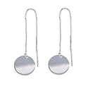 Amante Sterling Silver Italian Crafted Disc Thread Earrings