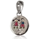 Amante Sterling Silver Boy and Girl Enamel Keepsake Charm Pendant featuring a sparkling Swarovski Crystal Star