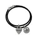 Poetic Silver and Leather Bolo Charm Bracelet