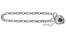 Amante Sterling Silver Oval Belcher Bracelet with Natural Garnet Set Filigree Padlock