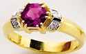 9ct Gold Diamond Set Amethyst Ring