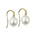 9ct Gold White Freshwater Pearl Drop Earrings