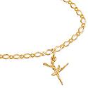 9ct Solid Gold Fine Oval Figaro Bracelet-19cm