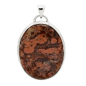 Hot Special Silver Large Oval Brecciated Jasper Pendant