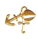 Solid 9ct Gold Small Faith, Hope and Charity Charm Pendant