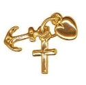 Solid 9ct Gold Medium Faith, Hope and Charity Charm Pendant