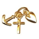 Solid 9ct Gold Tiny Plain Faith, Hope and Charity Charm Pendant