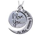 "Sterling Silver  'I love you to the moon and back"" pendant with matching Necklace"