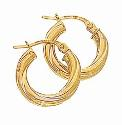 9ct Gold Medium Twist Hoop Earrings-15mm