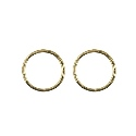 9ct gold solid faceted sleeper earrings -  10mm
