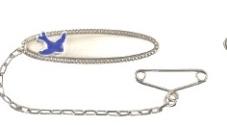 Sterling Silver Oval Beaded Edge Baby's Bluebird Brooch