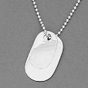 Sterling Silver Double Dog Tags with Ball Chain