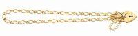 9ct solid open link padlock bracelet